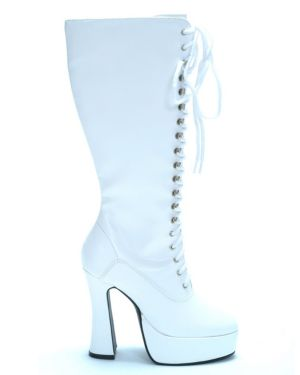White Patent Lace Up Boots
