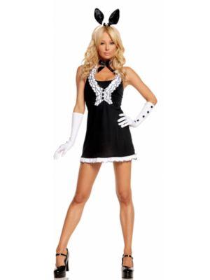 Sexy Adult Black Tie Bunny Costume