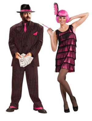 Womens Jazzy Flapper Hot Pink Couple