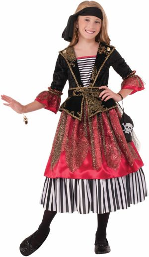 GIRLS DELUXE CARIBBEAN CRIMSON PIRATE CO
