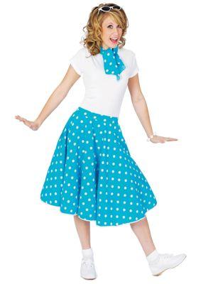 Adult Blue Sock Hop Skirt