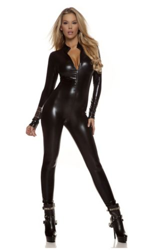 Sexy Adult Black Metallic Catsuit Costume