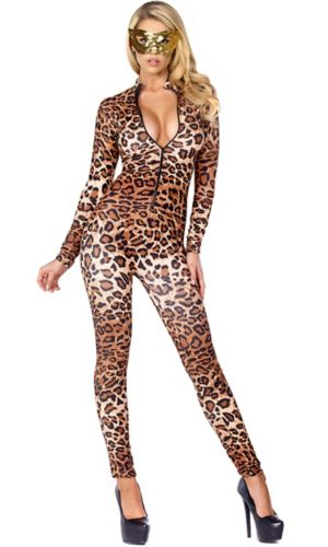 Sexy Adult Leopard Zip front Catsuit Costume