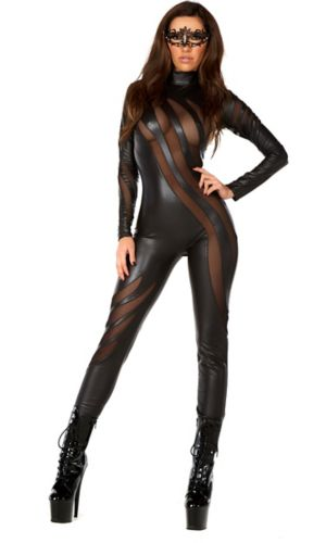 Sexy Adult Faux Leather Catsuit with Mesh Inserts Costume