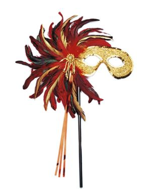 Gold Glitter and Feather Stick Mask