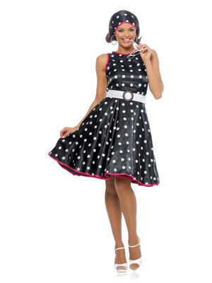 Hot 50s Black Dress Costume for Adults