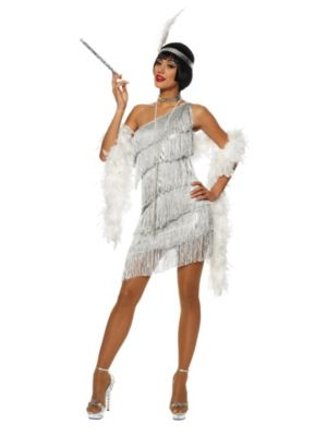 Sexy Adult Dazzling Flapper Costume Silver