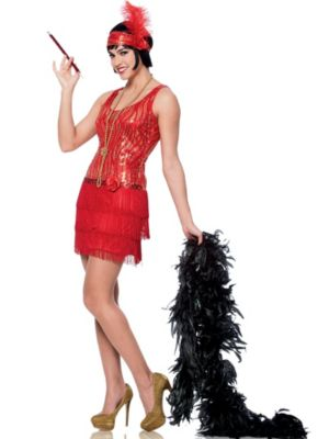 Adult Red Broadway Flapper Costume