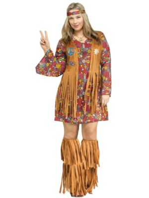 Adult Plus Size Peace and Love Hippie Costume
