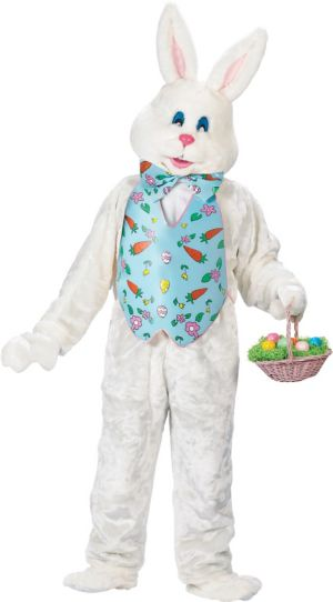 Deluxe XXL White Bunny With Blue Vest and Mascot Head