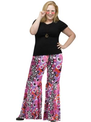 Adult Plus Size Flower Child Bell Bottoms Costume