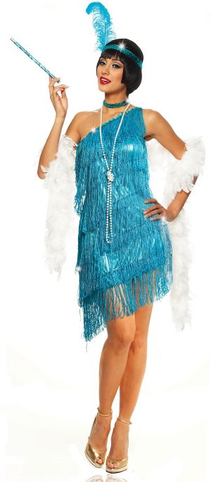 Sexy Adult Dazzling Flapper Turquoise Costume