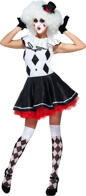 Adult Black and White Party Jester Harlequin Clown Costume