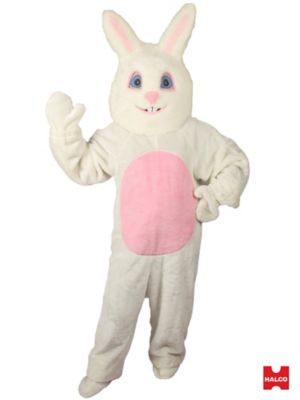 Adult White Bunny With Pink Tummy Mascot Costume
