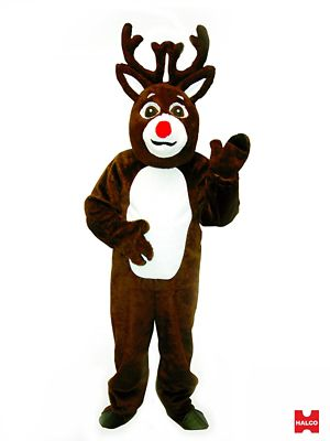 Adlut Reindeer Suit with Mascot Head Costume