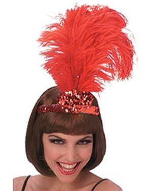 Red Feathered Tiara Adult