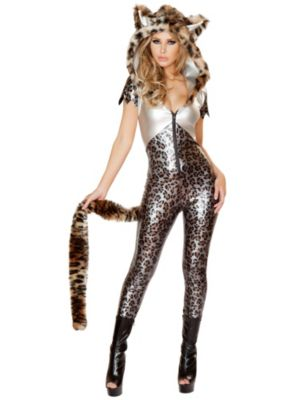 Sexy Adult Sliver Leopard Catsuit Costume