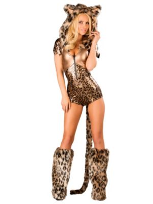 Adult Sexy Bronze Leopard Hooded  Romper Costume
