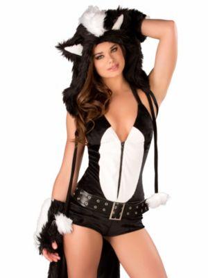 Adult Sexy Flower Skunk Romper Costume