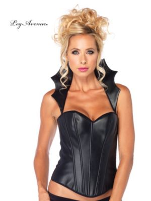 Adult Black Corset with Scalloped Collar