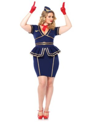 Sexy Friendly Skies Flight Attendant Adult Plus Size Costume