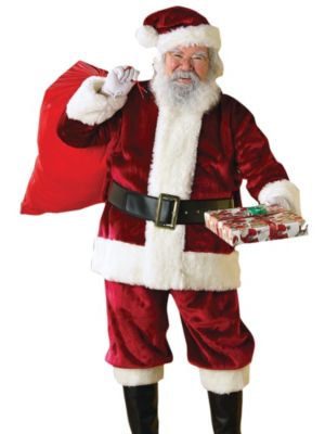 Adult Plus Size Crimson Regency Plush Santa Suit Costume