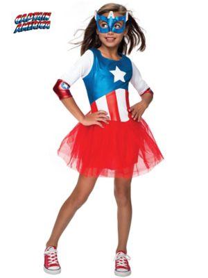 Child American Dream Metallic Captain America Dress Costume