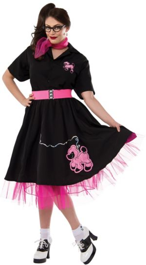 Adult Plus Size Black and Pink 50's Poodle Costume