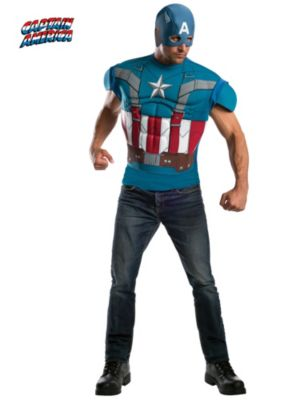 Adult Captain America Muscle Chest T-Shirt Costume