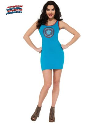 Sexy Adult Captain America Rhinestone Tank Dress Costume