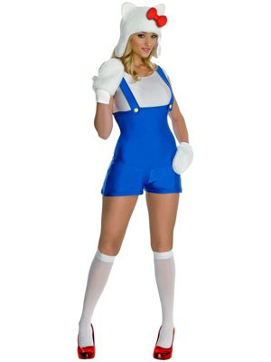 Sexy Adult Hello Kitty Blue Romper Costume