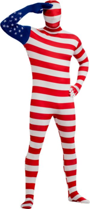 Adult USA Flag Skin Suit Costume