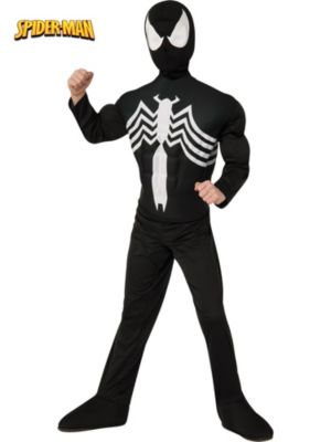 Child Black Spiderman Muscle Chest Costume