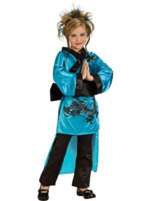 Female Kids Dragon Costume In Teal