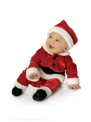 Newborn Infant Santa Jumpsuit In Velvet