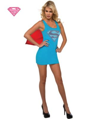 Sexy Adult Supergirl Rhinestone Tank Dress Costume