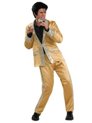 Deluxe Gold Satin Adult Elvis Costume