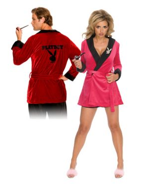 Playboy Pink Sexy Girlfriend Ladies Smoking Jacket Womens Couples Costume