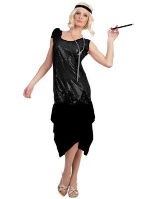 Adult Woman's Rag Time Flapper Black Costume