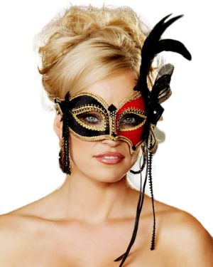 Red and Black Venetian Half Mask with Feather