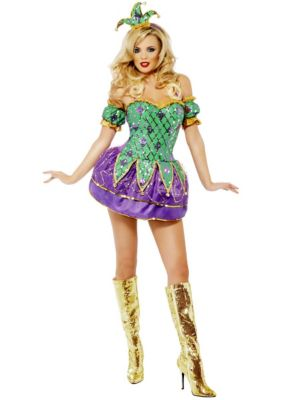 Adult Sexy Mardi Gras Harlequin Shine with Sequins Costume