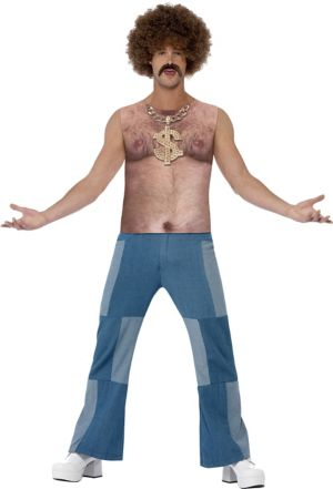 Adult Realistic 70's Hairy Chest Top Costume
