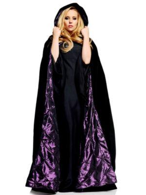 Adult Deluxe Black Velvet w/ Purple Satin Cape