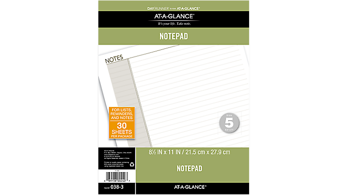 Day Runner® Lined Note Pad (038-3) - Planner Note Pages