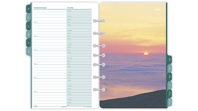 Day-Timer® Coastlines® Address/Phone Tabs Desk Size (13181) - Telephone-Address Pages & Tabs