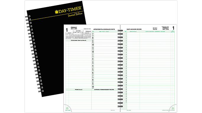 Day-Timer® 2016 2-Page-Per-Day Reference Planner Refill with Storage Journal Size (30880 16) - July Start Refills