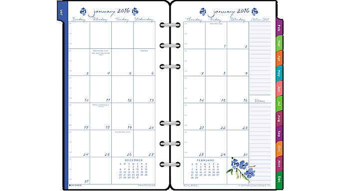 Day-Timer® 2016 Kathy Davis 2 Page Per Month Planner Refill, Portable Size (53132 16) - Kathy Davis