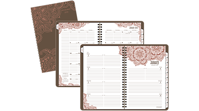 At-A-Glance® 2016 Henna Premium Desk Weekly/Monthly Planner (551-200 16) - Fashion Planners
