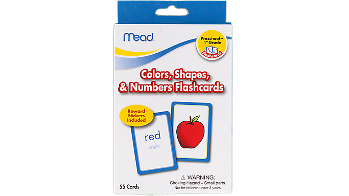 Mead® Color Shapes and Numbers Flashcards Grades PK-1 (63126) - Early Learning