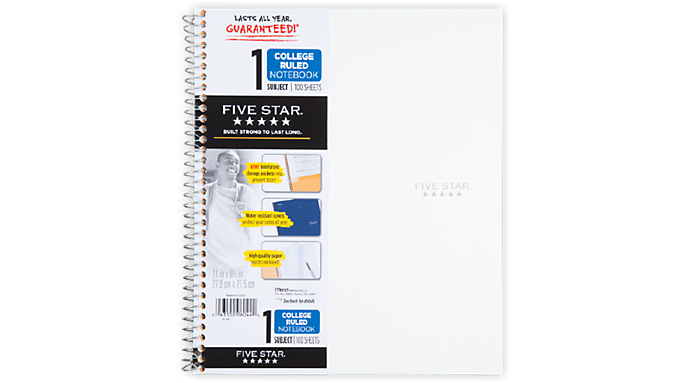 Five Star® Trend Wirebound College Ruled Notebook - 1 Subject (06044C) - Five Star Notebooks